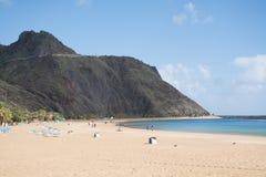 Tropisk strand Teresitas, Tenerife, kanariefågelöar i vinter Arkivfoto