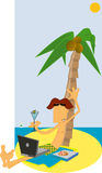 tropisk strandbärbar datorman Arkivfoto