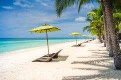 Tropisk strandbakgrund på den Panglao Bohol ön med strandstolar på den vita sandstranden med blå himmel och palmträd Arkivfoto