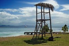 Tropisk strandsikt i Cayo Levantado, Dominikanska republiken Royaltyfri Fotografi
