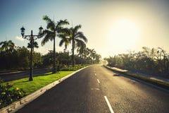 Tropisk trädgård och bana in mot lyxig semesterort i Punta Cana, arkivfoto