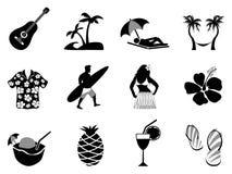 Tropisk uppsättning för ö- och strandsemestersymboler Arkivfoto