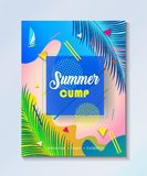 Tropisk uppsättning för affischer för parti för sommarungeläger Royaltyfria Bilder