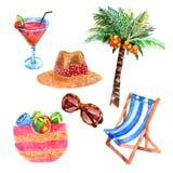 Tropisk uppsättning för symboler för semesterloppvattenfärg Arkivbild