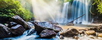 Tropisk vattenfall i djungel med solstrålar royaltyfri fotografi