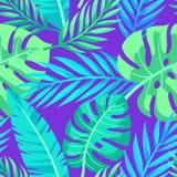 Tropisk vektorgräsplan lämnar den sömlösa modellen vektor illustrationer
