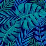 Tropisk vektorgräsplan lämnar den sömlösa modellen Exotisk tapet Gömma i handflatan med havet och träbrädet Tropisk djungellövver royaltyfri illustrationer