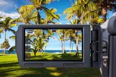 tropisk video för strandkamera royaltyfria foton
