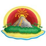 Tropisk vulkan för tecknad film. Arkivfoto