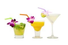 Tropiska alkoholiserada coctailar Royaltyfria Bilder