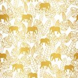 Tropiska bladguld och elefant på seameless vit bakgrund royaltyfri illustrationer
