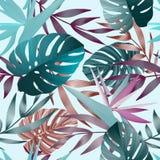 Tropiska blommor, djungelsidor, fågel av paradisblomman royaltyfri illustrationer