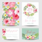 Tropiska blommor - för att gifta sig, inbjudan Arkivbilder