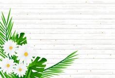 Tropiska blommor för idérik naturlig orientering och gräsplansidor på bac Royaltyfria Bilder