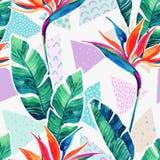 Tropiska blommor för vattenfärg på geometrisk bakgrund med klotter royaltyfri illustrationer