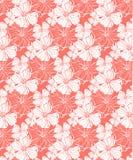 Tropiska blommor i korall, s?ml?s vektormodell f?r ett nytt sommarlynne royaltyfri illustrationer