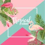 Tropiska blommor och flamingosommarbaner, grafisk bakgrund, exotisk blom- inbjudan, reklamblad eller kort Modern förstasida royaltyfri illustrationer