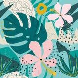 Tropiska blommor och palmblad på bakgrund seamless color vektorn för möjliga variants för modellen den olika vektor illustrationer