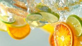 Tropiska citursfrukter skivar att falla i vatten arkivbild