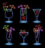Tropiska drinkar för neon Arkivfoton