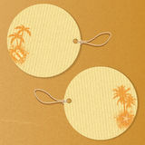 Tropiska etiketter stock illustrationer