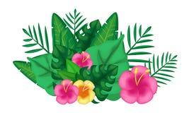 Tropiska exotiska gröna sommarväxter med sidor och blommor stock illustrationer