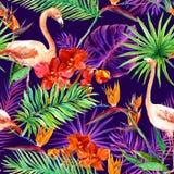 Tropiska exotiska sidor, orkidé blommar, neonljus seamless modell vattenfärg royaltyfri bild