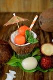 Tropiska frukter: longanen, rambutanen och papayaen boll-formade stycken ligger i kokosnöt Fotografering för Bildbyråer