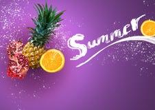 Tropiska frukter på färgrik bakgrund i sommarbegrepp arkivfoto