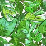 Tropiska gröna palmträdsidor Sömlös modell för vektorsommar royaltyfri illustrationer