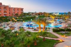 Tropiska hörn Sunny Beach för semesterort tre i Hurghada Royaltyfri Bild