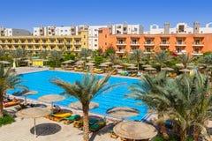Tropiska hörn Sunny Beach för semesterort tre i Hurghada Arkivfoto