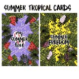 Tropiska kort för sommar Arkivfoto