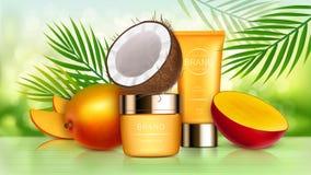 Tropiska mango- och kokosnötskönhetsmedel stock illustrationer