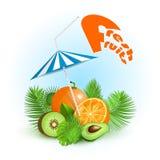 Tropiska nya frukter för sommartid Dricka fruktsaft Arkivfoto