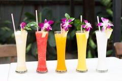 Tropiska nya fruktsaftar Arkivbilder