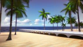 Tropiska Palm Beach med bron som leder till havet Royaltyfri Foto