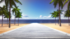 Tropiska Palm Beach med den tomma träbron Royaltyfri Fotografi