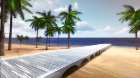 Tropiska Palm Beach med timmerbron och det lugna havet stock illustrationer