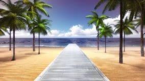 Tropiska Palm Beach med träbron till havet royaltyfri illustrationer