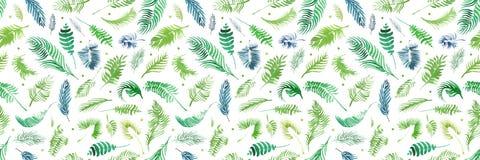 Tropiska palmblad, djungel lämnar sömlös blom- modellbakgrund, tropisk dekor för vattenfärg royaltyfri illustrationer