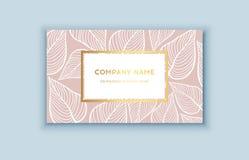 Tropiska rosa färger för vektor och guldaffärskort Exotisk design för skönhetsmedel, brunnsort, doft, hälsovårdprodukter Royaltyfri Fotografi