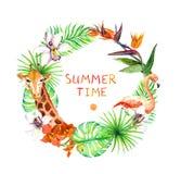 Tropiska sidor, den exotiska flamingo, giraffet, orkidé blommar Kransram vattenfärg Arkivbilder