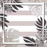 Tropiska sidor för silver med ramen görad randig bakgrund Arkivfoto