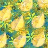 Tropiska sidor och blommor arkivfoto