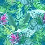 Tropiska sidor och blommor av palmträdet seamless modell Royaltyfri Fotografi