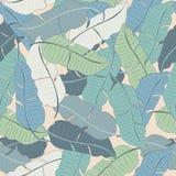 Tropiska sidor och blommor av palmträdet seamless modell Arkivbilder