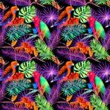 Tropiska sidor och exotiska blommor i neonljus Sömlös unik modell Vattenfärg Arkivbild