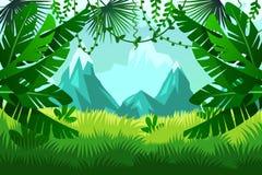 Tropiska skogberg Landskap royaltyfri illustrationer