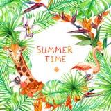 Tropiska skogsidor, exotiska blommor, flamingo, giraff Djurlivkort, affischdesign vattenfärg royaltyfri illustrationer
